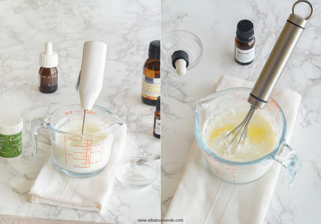 Imagen preparación receta crema corporal de rosas